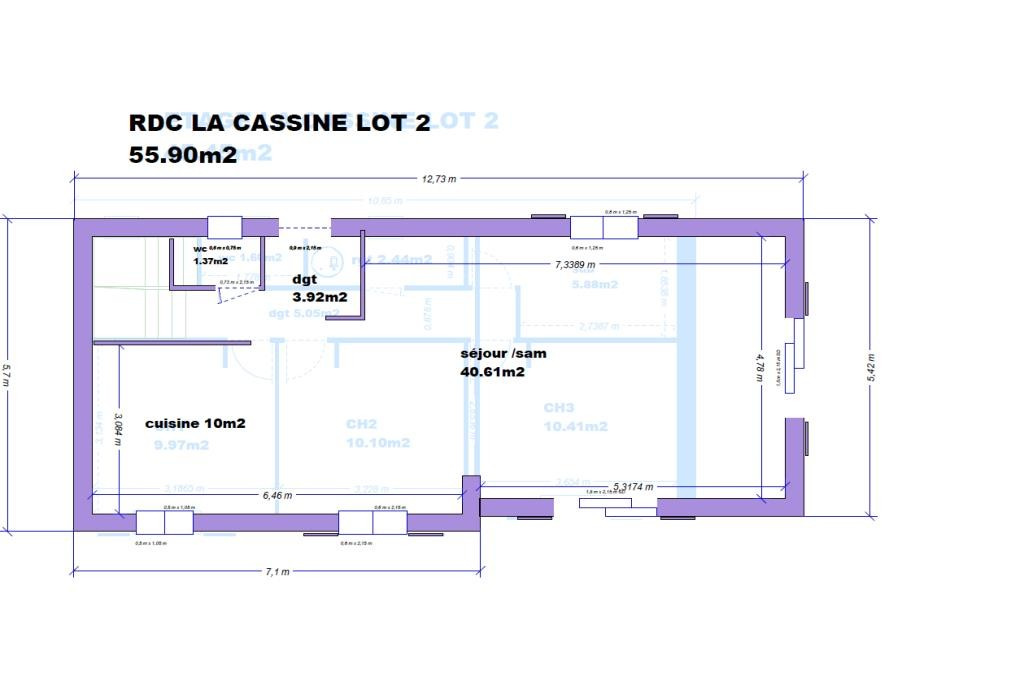 VILLA 101.35m2 LA CASSINE LOT 2 CELLULE RDC