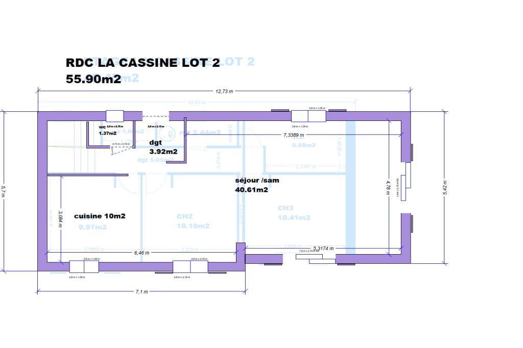 VILLA 101.35m2 LA CASSINE LOT 2 CELLULE RDC